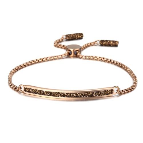 Bracelet en acier inoxydable or rose avec poussière minérale brune