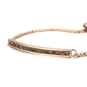 Brown mineral dust stainless steel rose gold bracelet