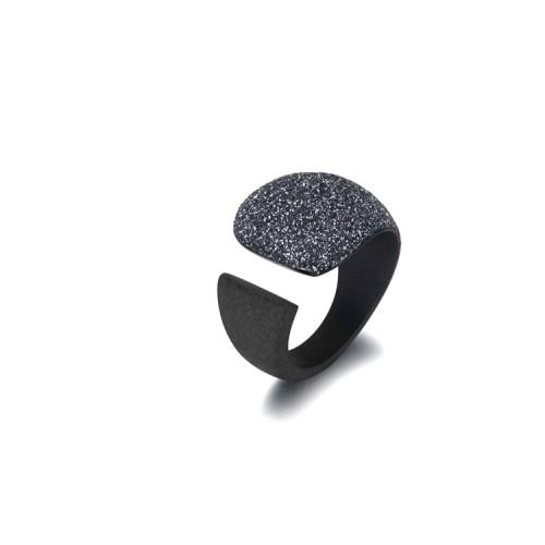 Bague noire en acier inoxydable poussière noire