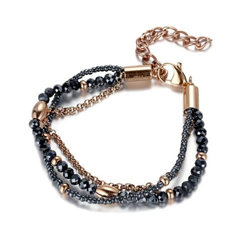 Bracelet multi-chaînes en acier inoxydable avec zircons de cristal