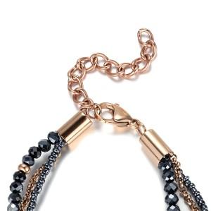 Crystal cubic zircon stainless steel multi-chain bracelet