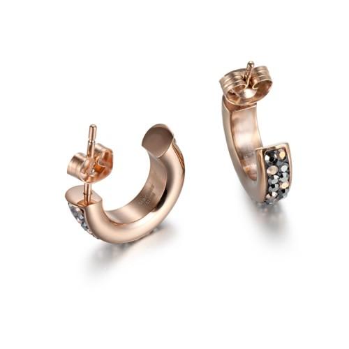 Boucles d'oreilles en acier inoxydable avec zircons de cristal