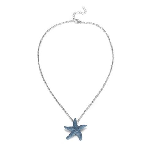 Collier pendentif en acier inoxydable étoile de mer bleu poussière minérale