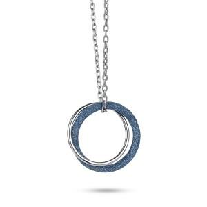 Collier pendentif en acier inoxydable bagues poussière minérale bleue
