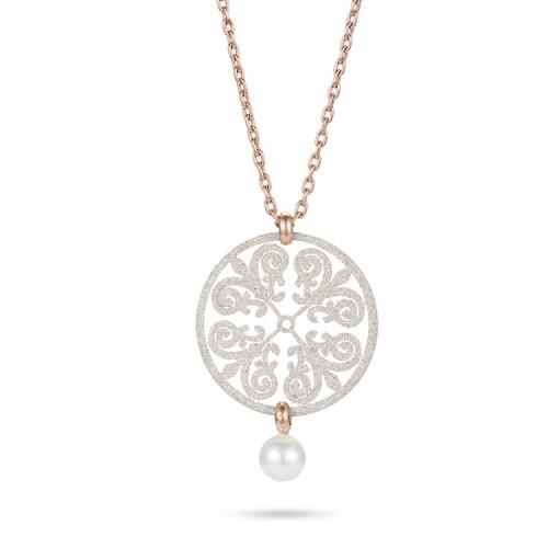Collier pendentif en acier inoxydable rose fligree avec poussière minérale blanche