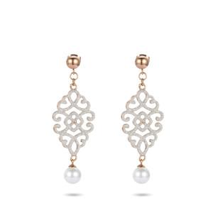 Boucles d'oreilles pendantes en or rose en acier inoxydable en filigrane de poussière de minéraux blancs