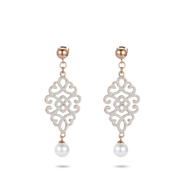 White mineral dust filigree stainless steel rose gold dangles earrings