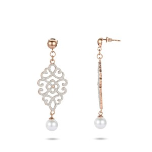 White mineral dust filigree stainless steel rose gold dangles earrings