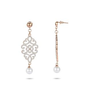 Hot selling white mineral dust filigree stainless steel earrings