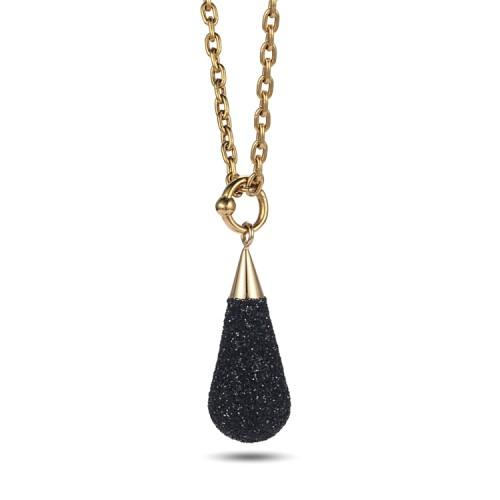 Collier pendentif acier inoxydable poussière d'or noir