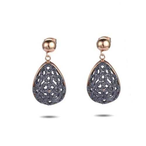 Grey mineral dust filigree stainless steel rose gold earrings