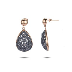 Grey mineral dust filigree stainless steel rose gold earrings
