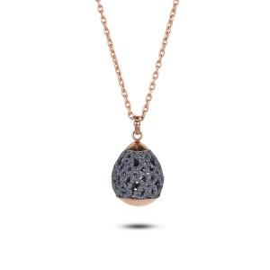 Polvo mineral gris hueco acero inoxidable colgante de collar de oro rosa