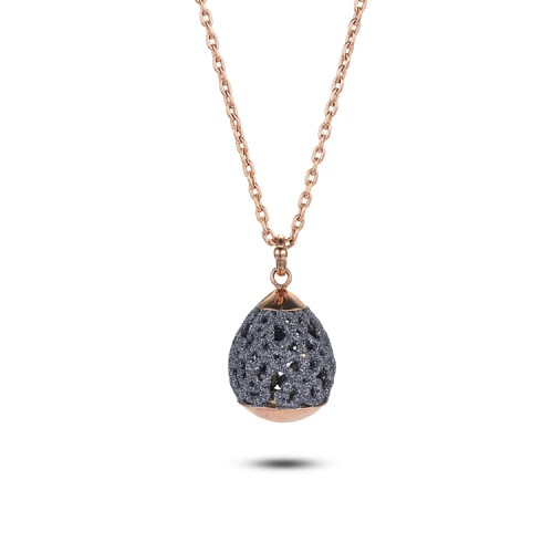 Grey mineral dust hollow stainless steel rose gold necklace pendant