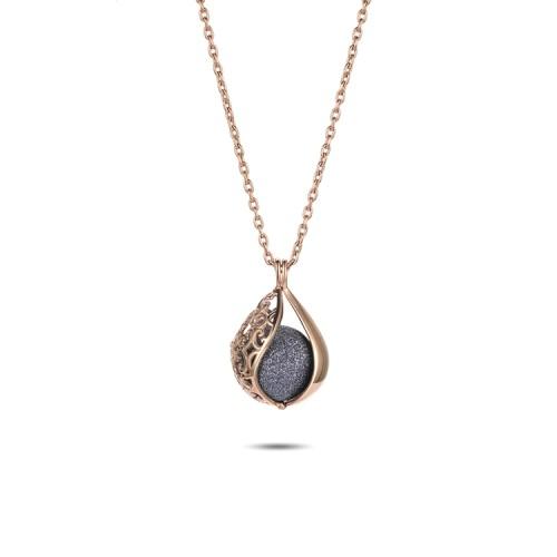 Polvo mineral gris filigrana colgante de collar de medallón de oro rosa de acero inoxidable