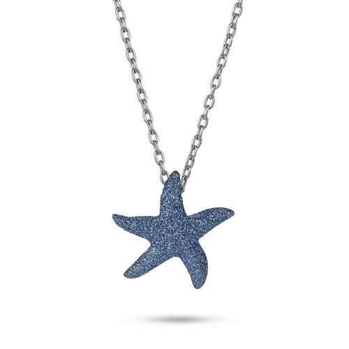 Colgante de collar de acero inoxidable azul marino con polvo de estrellas de mar