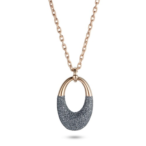 Grey mineral dust stainless steel rose gold necklace pendant