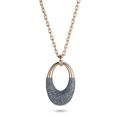 Polvo mineral gris acero inoxidable collar de oro rosa colgante