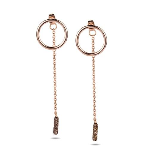 Boucles d'oreilles en or rose en acier inoxydable avec poussière minérale brune