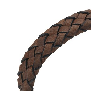 Brown genuine leather bracelet with stainless steel magnetic clasp