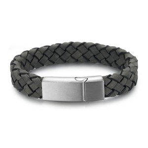 Dark green genuine leather bracelet with stainless steel magnetic clasp