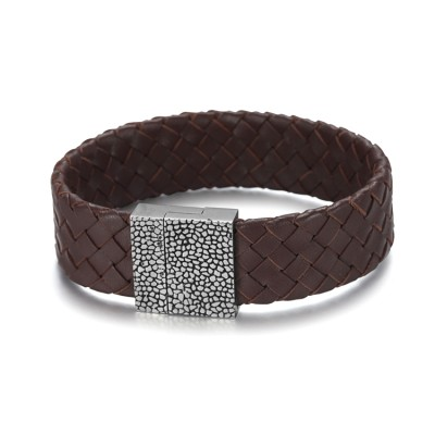 Brown genuine leather band bracelet with stainless steel magnetic clasp