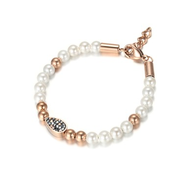Bracelet en perles de rocaille et marcassites