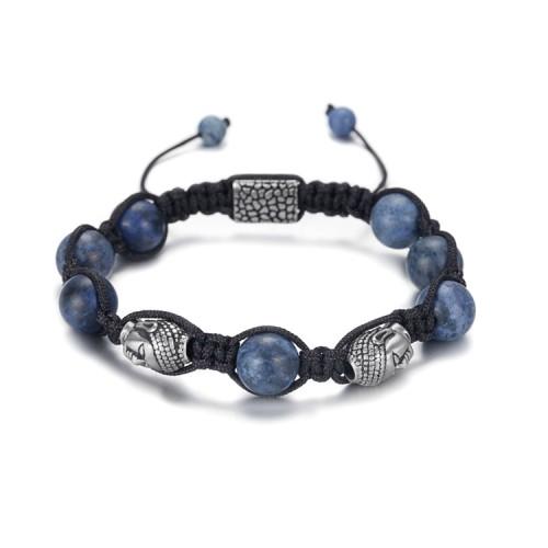 8mm braid dumortierite beads bracelet with budda accessory