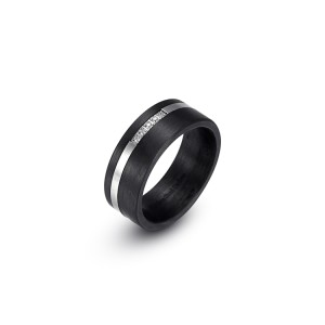 Carbon fiber stainless steel ring with CZ stones