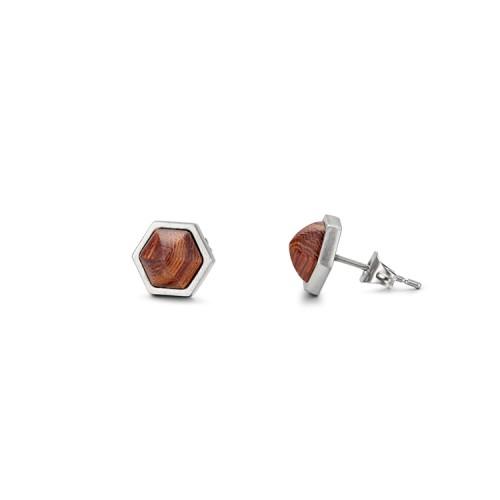 Wood sheet stainless steel stud earrings
