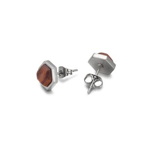 Wood sheet stainless steel stud earrings