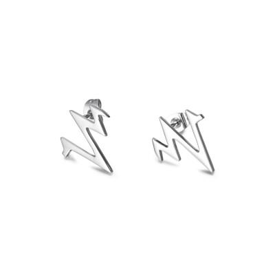 Boucles d'oreilles en argent avec électrocardiogramme en argent à battement de coeur