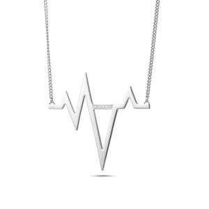 Colgante de collar de acero inoxidable con electrocardiograma de latido de plata