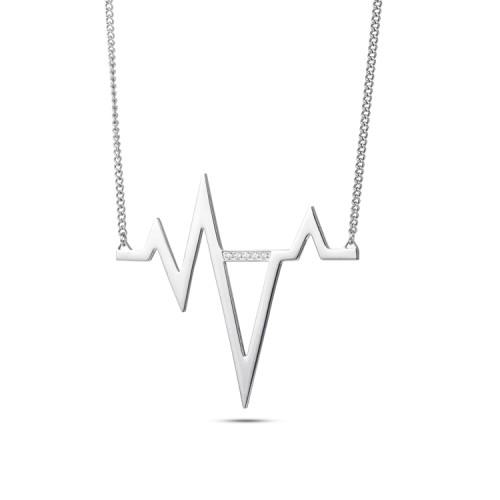 Pendentif en acier inoxydable avec électrocardiogramme à battement de coeur en argent