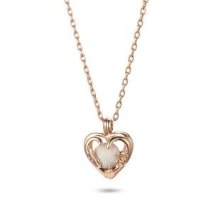 Colgante de collar de relicario de oro rosa de filigrana de acero inoxidable