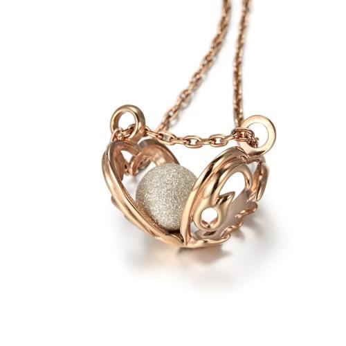 Collier pendentif médaillon coeur en acier inoxydable en or rose filigrane