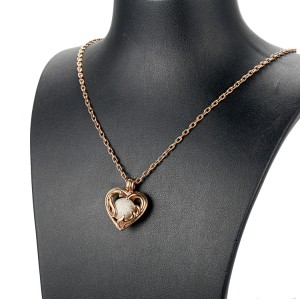 Heart filigree stainless steel rose gold locket necklace pendant
