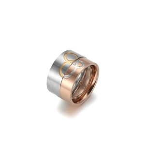 Pareja amor anillo de acero inoxidable