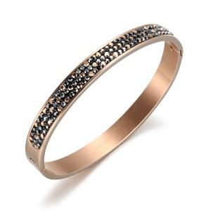 Brazalete de pulsera de acero inoxidable con circonita cúbica de cristal