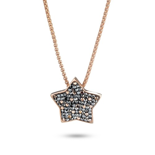 Crystal cubic zircon stainless steel star pendant necklace