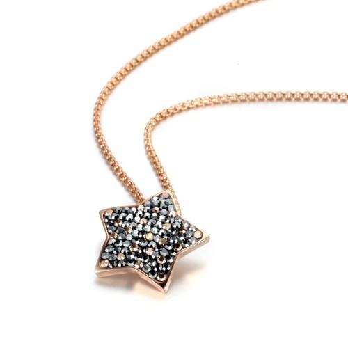 Collier pendentif étoile en acier inoxydable avec zircons de cristal