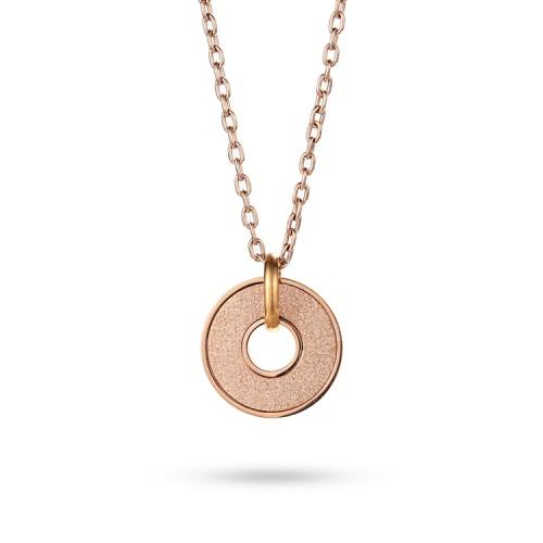 Collana con pendente smerigliato placcato oro rosa 18 carati