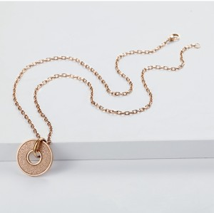 Rose gold 18Kt plated emery pendant necklace