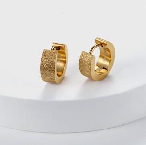 Orecchini Huggie smeraldi placcati oro 18 carati