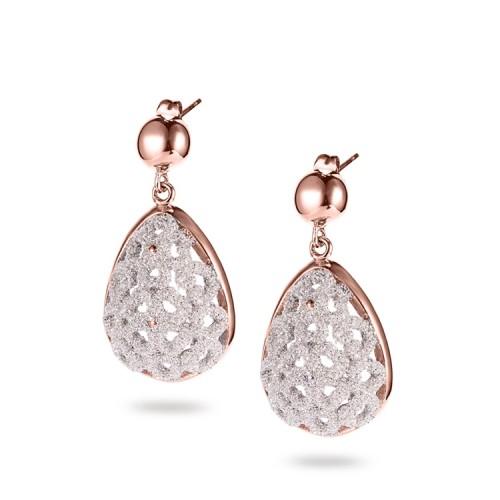 White mineral dust filigree stainless steel chandeliers earrings