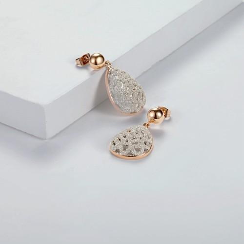 Boucles d'oreilles lustres en acier inoxydable filigrane blanc poussière minérale