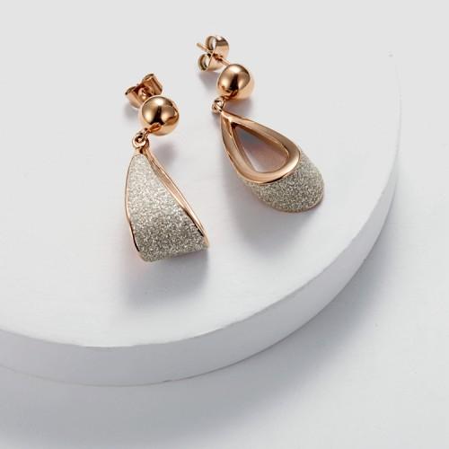 Boucles d'oreilles lustres en acier inoxydable poussière blanche