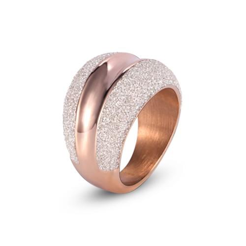 Anillo de acero inoxidable de oro rosa con polvo mineral blanco