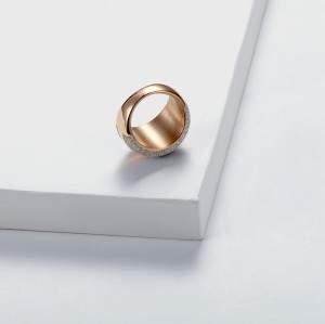 White mineral dust rose gold stainless steel ring