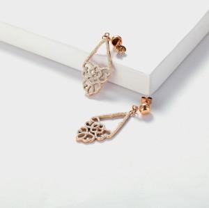 Mineral dust stainless steel filigree earrings